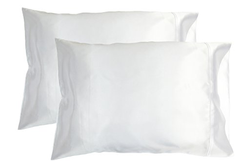 2pc New Queen/Standard Silk~y Satin Pillow Case Multiple Colors (White)