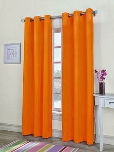 Gorgeous Home 1PC ORANGE 55 WIDE X 63″ LENGTH FAUX SILK GROMMET WINDOW PANEL CURTAIN DRAPE ...