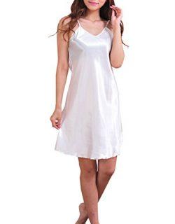 SexyTown Women's Satin Camisole Nightgown Classic Chemise Slip Sleepwear (Small, White)