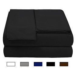 Bed Sheet Set (King,Black)Deep Pocket Soft 1800 Double Brushed Microfiber Hypoallergenic Bedding ...