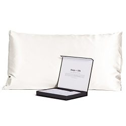 100% Pure 30MM Mulberry Silk Pillowcase, Our Most Luxurious Black Label Collection (Natural Whit ...