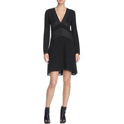 Tory Burch Womens Varenne Silk Metallic Trim Tunic Dress Black 6