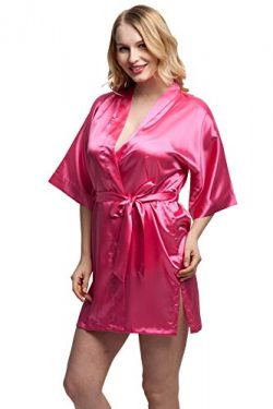 ExpressBuyNow Women/'s Kimono Robe Short,Small,pure color-rose
