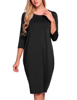ANGVNS Women's 3/4 Sleeves Round Collar Loose Bubble Shape Midi Dress,Black,X-Large
