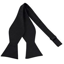 100% Silk Mens Bowtie Black Self Tie Tuxedo Bow Tie by John William