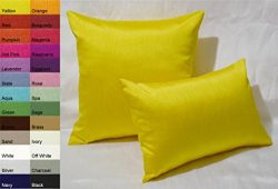 Creative Solid Faux Silk Euro Shams / Throw Pillow Covers 24 by 24 – Yellow