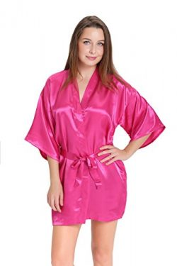 Aibrou Women/'s Kimono Robes Satin Pure Colour Short style with Oblique V-Neck, Rose Red,  ...