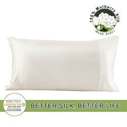 LILYSILK Pure Mulberry Silk 19 Momme Pillowcase Both Sides for Hair Charmeuse Hypoallergenic Que ...