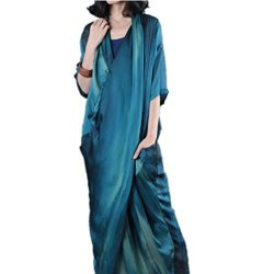 Yesno JN8 Women Long Loose Maxi Sexy Dress 100% Silk Colorful Bohemia Crossing Front Super Desig ...