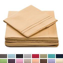 King Size Bed Sheets – Gold Luxury Sheet Set – Deep Pocket – Super Soft Hotel  ...