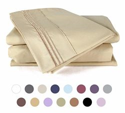 Bed Sheets Set(King – Gold), DUCK & GOOSE CO.100% Double Brushed Softest 4pcs 1800 Mic ...