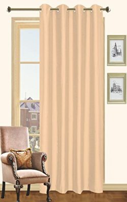 Beige Faux Silk Window Curtain Panel 8 Grommets Curtains – 57″X90″, White