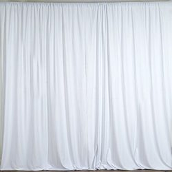 BalsaCircle 10 ft x 10 ft Polyester Professional Backdrop Curtains – White