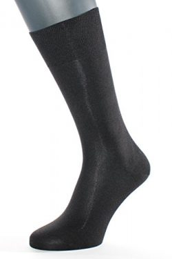 ALBERT KREUZ men's black luxury business socks of 98% silk – Made in Germany EU 45-47 / US 11-13.5