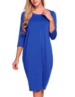ANGVNS Women's 3/4 Sleeves Round Collar Loose Bubble Shape Midi Dress,Cobalt Blue,XX-Large