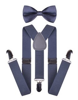 Matching Bow Ties and Suspenders Durable Y-Back Suspender for Kids Dark Gray