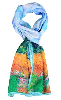 Salutto Women 100% Silk Scarves Van Gogh Wheat Field with Cypresses Painted Scarf (2)