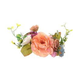 Dovewill Artificial Fabric Peony 7 Heads Flower Silk Floral DIY Accessory Wedding Party Straw Ha ...