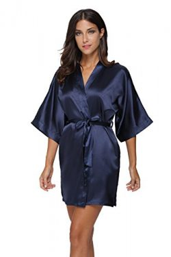 The Bund Women's Pure Colour Short Kimono Robes with Oblique V-Neck, Medium, Dark Blue