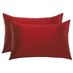 SET OF 2 SATIN PILLOWCASES WITH ZIPPER CLOSURE STANDARD SIZE 19 X 25″ CHOICE OF COLORS (Bu ...