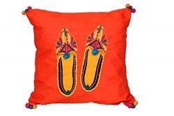 Handmade Cushion Cover- Case -Indian Mojri Embroidery Design Silk -Throw Pillow Cover, Decorativ ...