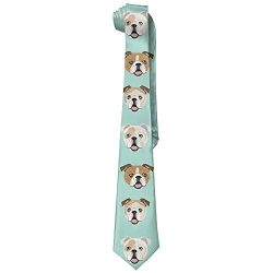 Stupid Funny English Bulldog Men's Tie Long Necktie Skinny Neckwear Silk