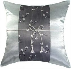 Artiwa Silk Couch Bed Decorative Throw Cushion Cover Floral striped for Couch Bed Sofa Gray Silv ...