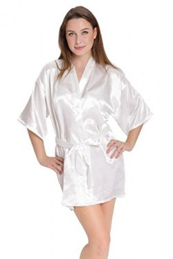 Aibrou Women/'s Kimono Robes Satin Pure Colour Short style with Oblique V-Neck, White, Small