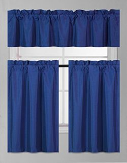 GorgeousHomeLinen (K3) 3 PC Kitchen Window Valance Tier Curtain Faux Silk Panels Solid Lined The ...