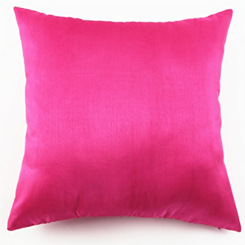 Standard Throw Pillow Cover Sizes : YJ Bear Solid Faux Silk Pillow Case Soft Cushion Cover Standard Size Cushion Sham Decorative ...