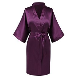 Goodmansam Women's Simplicity Stlye Bridesmaid Wedding Party Kimono Robes, Short,Eggplant  ...