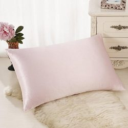 Voberry Silk Pillowcase for Hair and Skin with Hidden Zipper, 11 Colors (Pink)