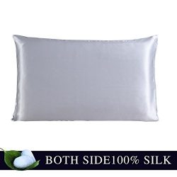 JULY SHEEP-Standard size Pure Silk Pillowcase,Natural 100% Mulberry Silk,19 momme, 600 thread co ...
