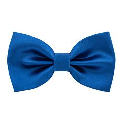 Satin Classic Pre-Tied Bow Tie Formal Solid Tuxedo, by Bow Tie House (Small, Royal Blue)