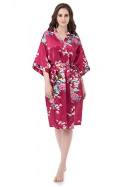 gusuqing Women's Printing Peacock Kimono Robe Short Sleeve Silk Bridal Robe Burgundy M