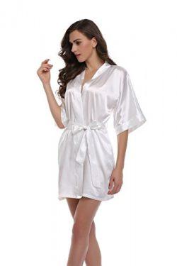 Sunnyhu Women's Pure Color Kimono Robe, Short (S, White)