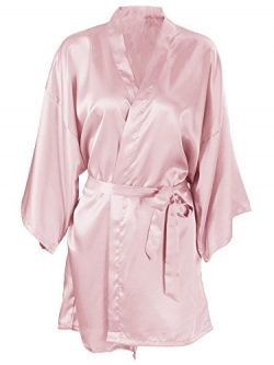 Silk Robe Women's Short Satin Sleepwear Robe Bridesmaid Bathrobe, Flesh Pink