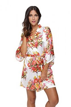 KimonoDeals Women's Satin Short Floral Kimono Robe For Wedding Party, White S