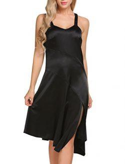 BEAUTYTALK Women's Spaghetti Strap Asymmetrical Evening Party Dress With Side Split (Black ...