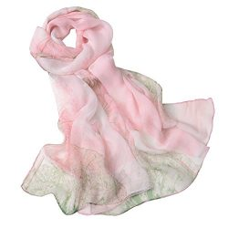 Fashion Flower Ink Style Soft Silk Voile Scarf Wrap Shawl (Lotus-Pink)