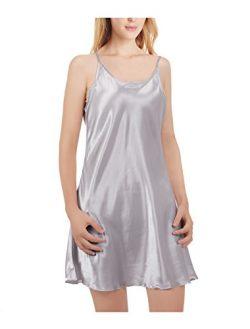 uxcell Women Silk Plus Size Lotus Leaf Hem Basic Slip Dress Nightgown Large Silver Grey