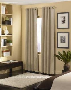 Curtainworks Cameron Grommet Curtain Panel, 50 by 95″, Sand