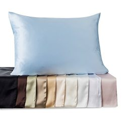 Kimspun 19 Momme 100% Silk Pillowcase for hair with Hidden Zipper Standard , Tan , By Shop Bedding