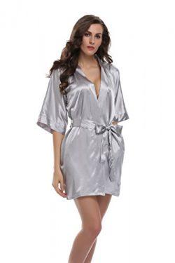 Sunnyhu Women's Pure Color Kimono Robe, Short (S, Silver)