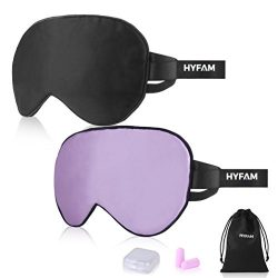 Hyfam 100% Silk Sleep Mask, 2 Pack Eye Mask for Sleeping – Both Sides Natural Silk Blindfo ...