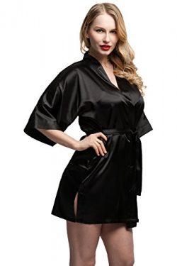 ExpressBuyNow Women's Kimono Robe Short ,pure color-Black ,Small