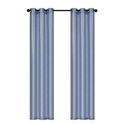 Home Queen Dupioni Faux Silk Top Grommet Window Curtains Drapes for Bedroom and Dining Room,Slat ...