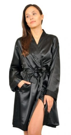 Satin Robe, Five Color Choices, Sizes (S, M, L, XL, 2X), Up2date Fashion Style#Gwn11 (2X, Black)