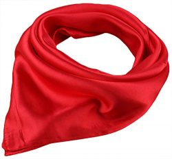 X&F Women's Solid Stain Charmeuse Neckerchief Square Scarf 23″ 23″ Red