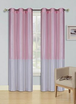 GorgeousHomeLinen (EID) 1PC LIGHT PINK – WHITE 2 Tone Faux Silk Window Curtains Foam Lined ...